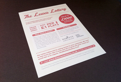 Lewes Lottery A5 Flyer, Poster, Typography, Layout, Gamblers