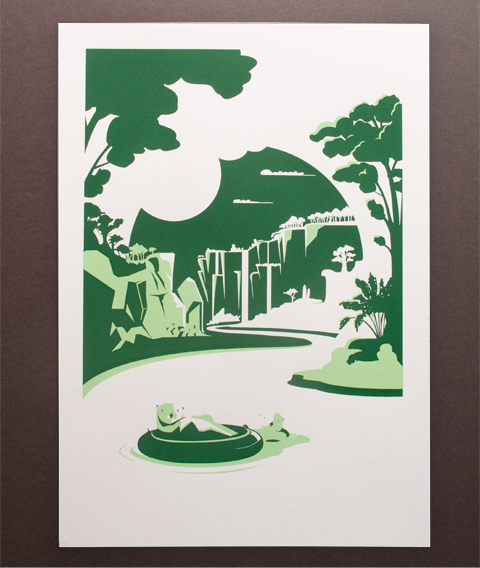 otters screen print secret lives of animals