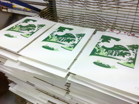 Steve_Campion_otters_screenprint_racked illustration screen prints
